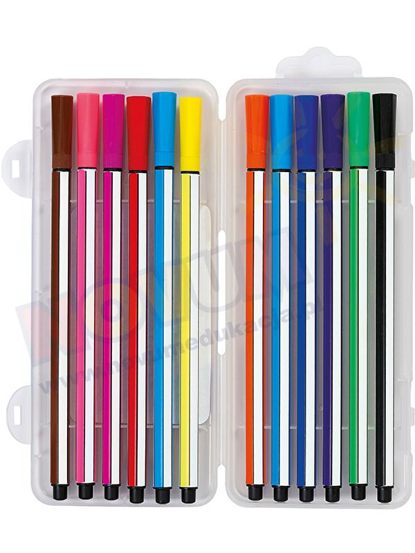 Novum Flamastry heksagonalne w plastikowym pudełku - 12 kolorów
