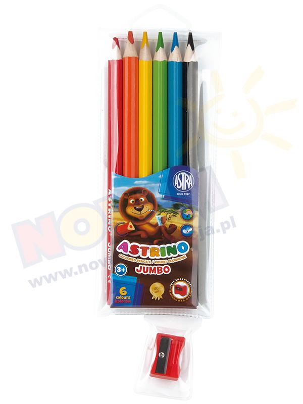 Novum Kredki ołówkowe Astrio trójkątne - 6 kolorów + temperówka GRATIS