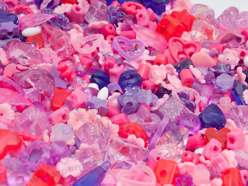 Novum Plastikowe koraliki liliowe i różowe, 1000 szt.
