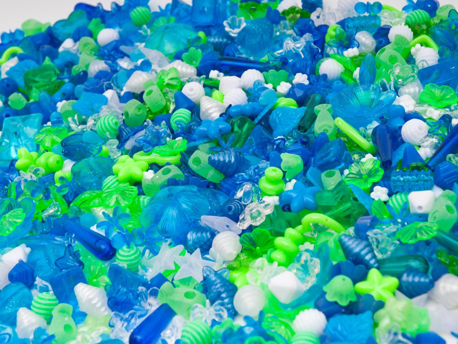 Novum Plastikowe koraliki niebieskie i zielone, 1000 szt