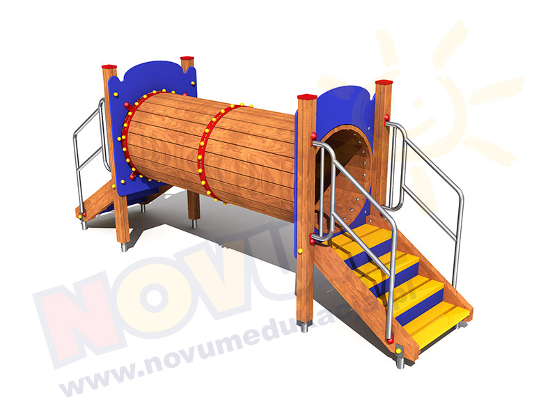 Novum Pomost tunelowy drewniany ze schodami