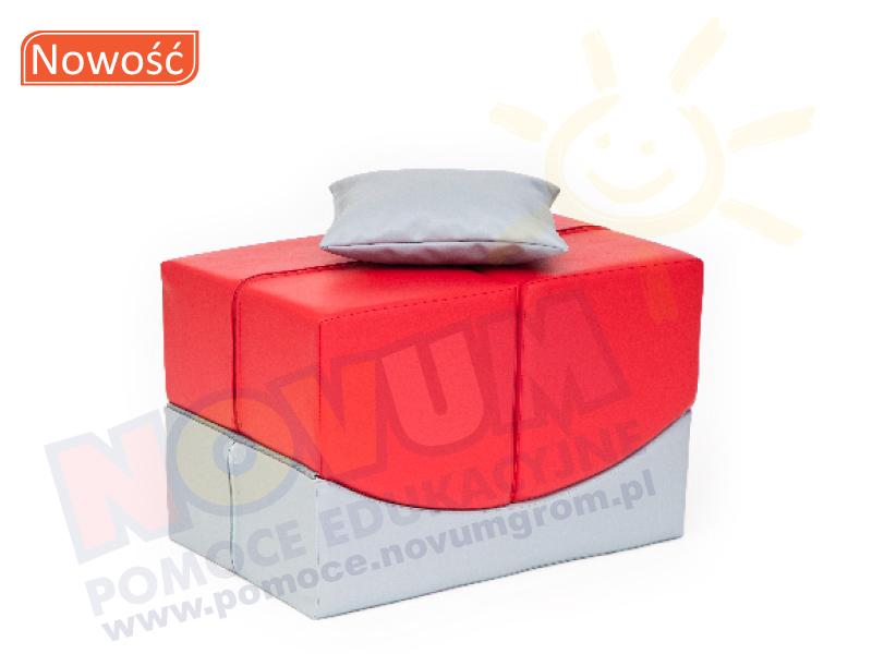 Novum Sofka komfort czerwono-srebrna