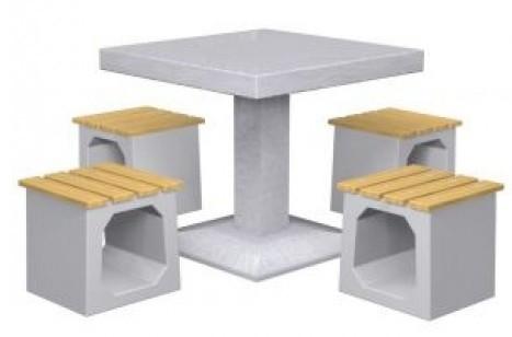 Inter Play Stolik betonowy 4-osobowy, siedziska bez oparć (MR4150)