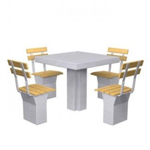 Inter Play Stolik betonowy 4-osobowy, siedziska z oparciem (MR4100)