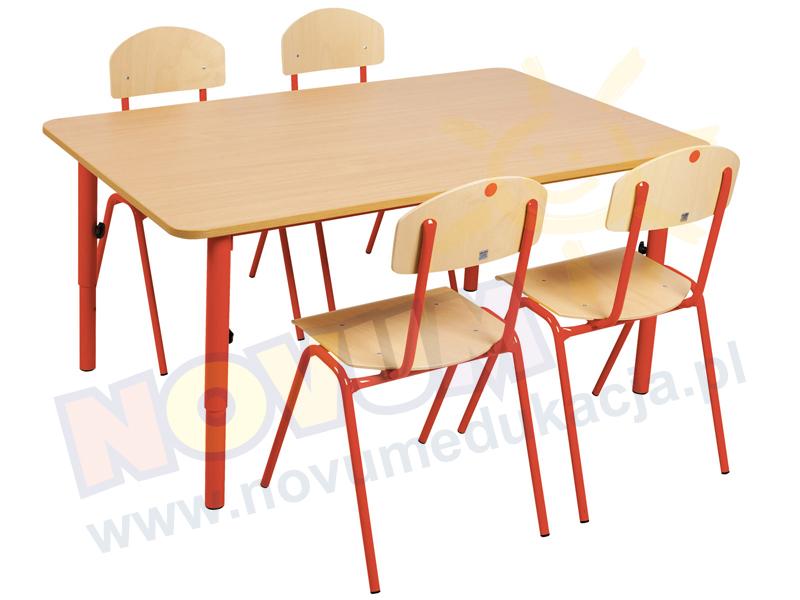 Novum Stolik przedszkolny regulowany 40-59 cm. Novum - czerwony