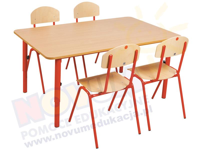 Novum Stolik przedszkolny regulowany 59-76 - czerwony