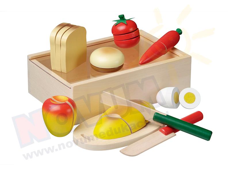 Novum Zestaw śniadaniowy w drewnianym pudełku